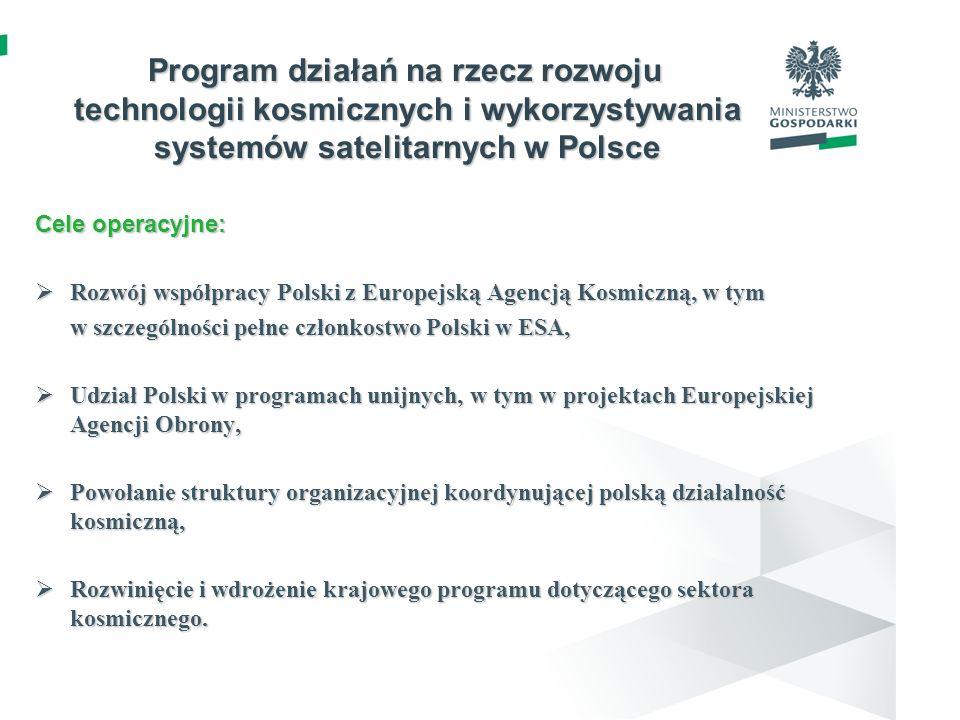 Program działań na rzecz rozwoju technologii kosmicznych i wykorzystywania systemów satelitarnych w Polsce Cele operacyjne: Rozwój współpracy Polski z