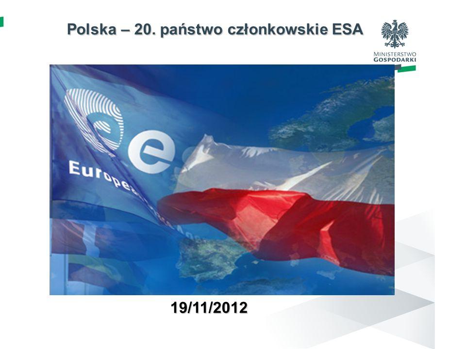 Polska – 20. państwo członkowskie ESA Polska – 20. państwo członkowskie ESA 19/11/2012