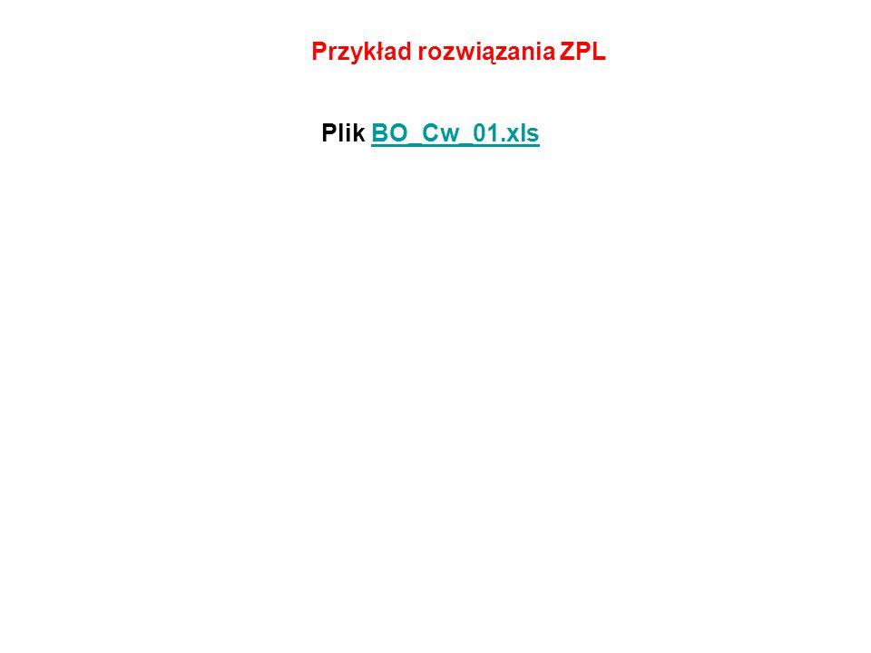 Przykład rozwiązania ZPL Plik BO_Cw_01.xlsBO_Cw_01.xls