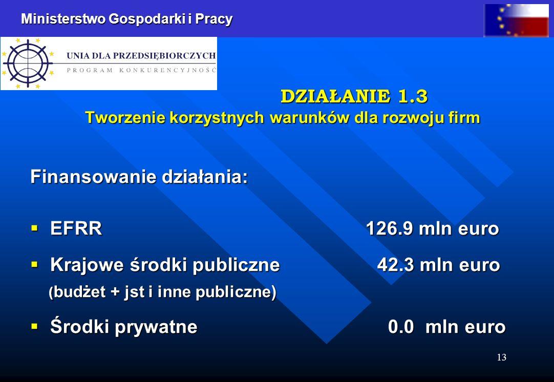 Ministerstwo Gospodarki i Pracy 13 Finansowanie działania: EFRR 126.9 mln euro EFRR 126.9 mln euro Krajowe środki publiczne 42.3 mln euro Krajowe środki publiczne 42.3 mln euro ( budżet + jst i inne publiczne) ( budżet + jst i inne publiczne) Środki prywatne 0.0 mln euro Środki prywatne 0.0 mln euro DZIAŁANIE 1.3 Tworzenie korzystnych warunków dla rozwoju firm DZIAŁANIE 1.3 Tworzenie korzystnych warunków dla rozwoju firm