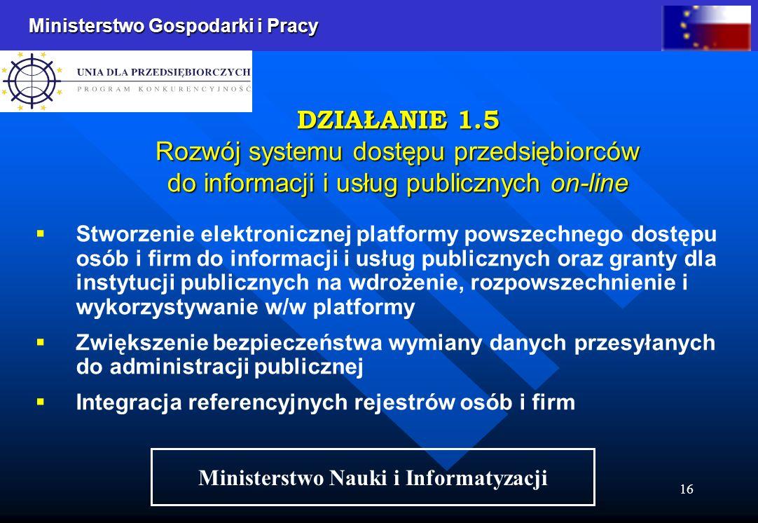 Ministerstwo Gospodarki i Pracy 16 Stworzenie elektronicznej platformy powszechnego dostępu osób i firm do informacji i usług publicznych oraz granty dla instytucji publicznych na wdrożenie, rozpowszechnienie i wykorzystywanie w/w platformy Zwiększenie bezpieczeństwa wymiany danych przesyłanych do administracji publicznej Integracja referencyjnych rejestrów osób i firm DZIAŁANIE 1.5 Rozwój systemu dostępu przedsiębiorców do informacji i usług publicznych on-line Ministerstwo Nauki i Informatyzacji