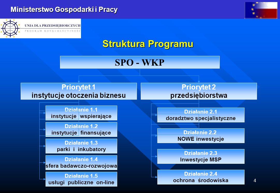 Ministerstwo Gospodarki i Pracy 4 Struktura Programu SPO - WKP Priorytet 1 instytucje otoczenia biznesu Priorytet 2 przedsiębiorstwa Działanie 1.1 instytucje wspierające Działanie 1.2 instytucje finansujące Działanie 1.3 parki i inkubatory Działanie 1.4 sfera badawczo-rozwojowa Działanie 1.5 usługi publiczne on-line Działanie 2.1 doradztwo specjalistyczne Działanie 2.2 NOWE inwestycje Działanie 2.3 Inwestycje MSP Działanie 2.4 ochrona środowiska