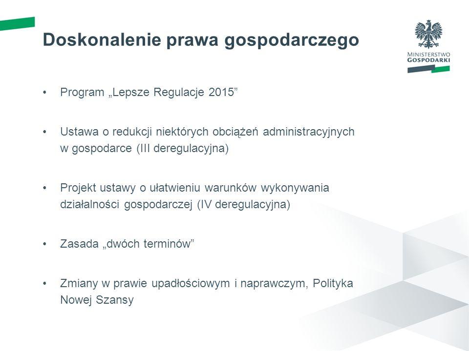 Doskonalenie prawa gospodarczego Program Lepsze Regulacje 2015 Ustawa o redukcji niektórych obciążeń administracyjnych w gospodarce (III deregulacyjna