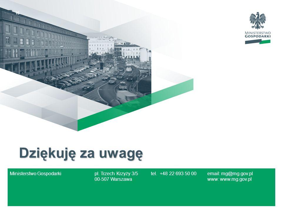 16 Dziękuję za uwagę Ministerstwo Gospodarkipl. Trzech Krzyży 3/5tel. +48 22 693 50 00email: mg@mg.gov.pl 00-507 Warszawawww: www.mg.gov.pl