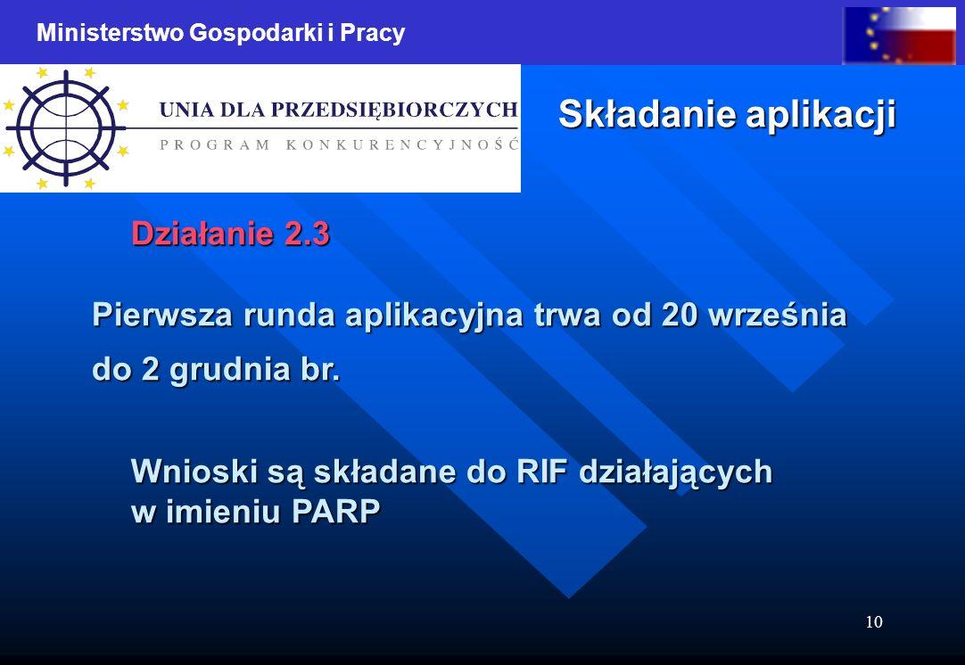 Ministerstwo Gospodarki i Pracy 10 Składanie aplikacji Działanie 2.3 Pierwsza runda aplikacyjna trwa od 20 września do 2 grudnia br.
