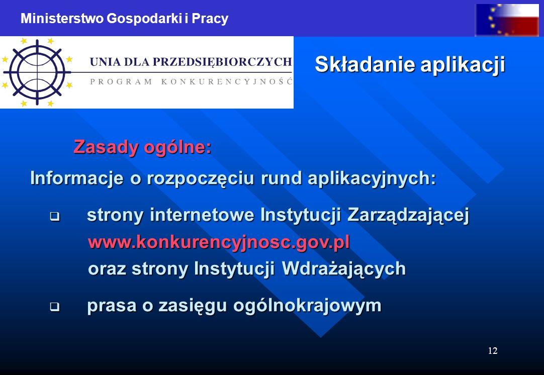 Ministerstwo Gospodarki i Pracy 12 Składanie aplikacji Zasady ogólne: Informacje o rozpoczęciu rund aplikacyjnych: Informacje o rozpoczęciu rund aplik