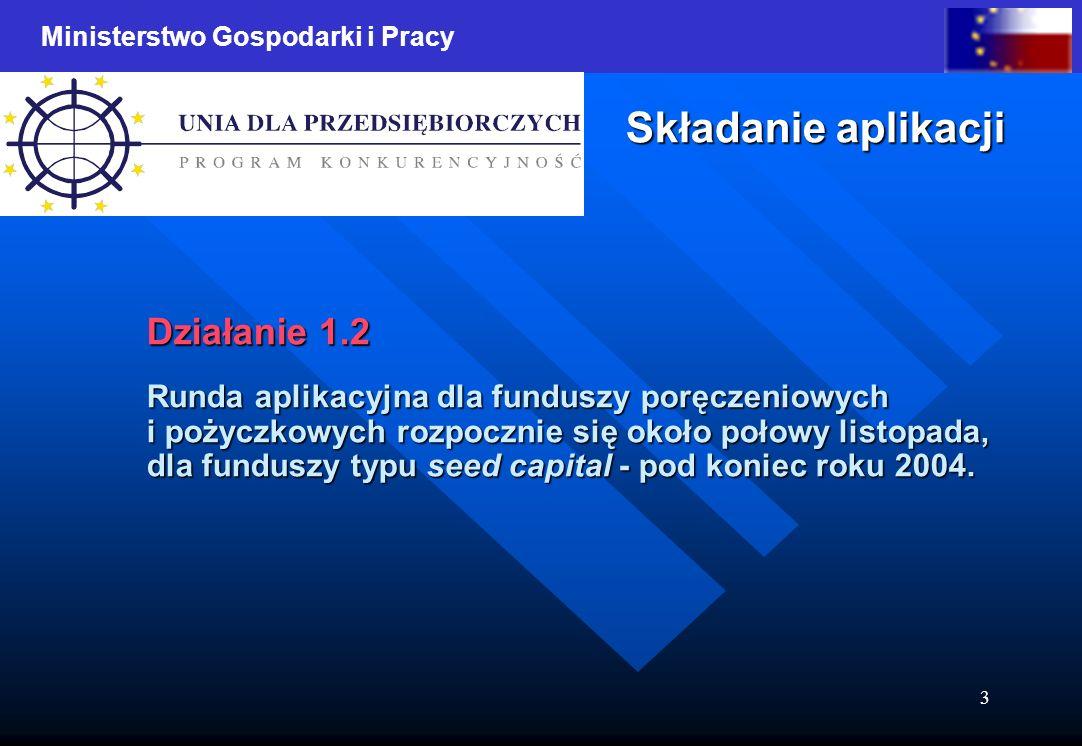 Ministerstwo Gospodarki i Pracy 3 Składanie aplikacji Działanie 1.2 Runda aplikacyjna dla funduszy poręczeniowych i pożyczkowych rozpocznie się około połowy listopada, dla funduszy typu seed capital - pod koniec roku 2004.