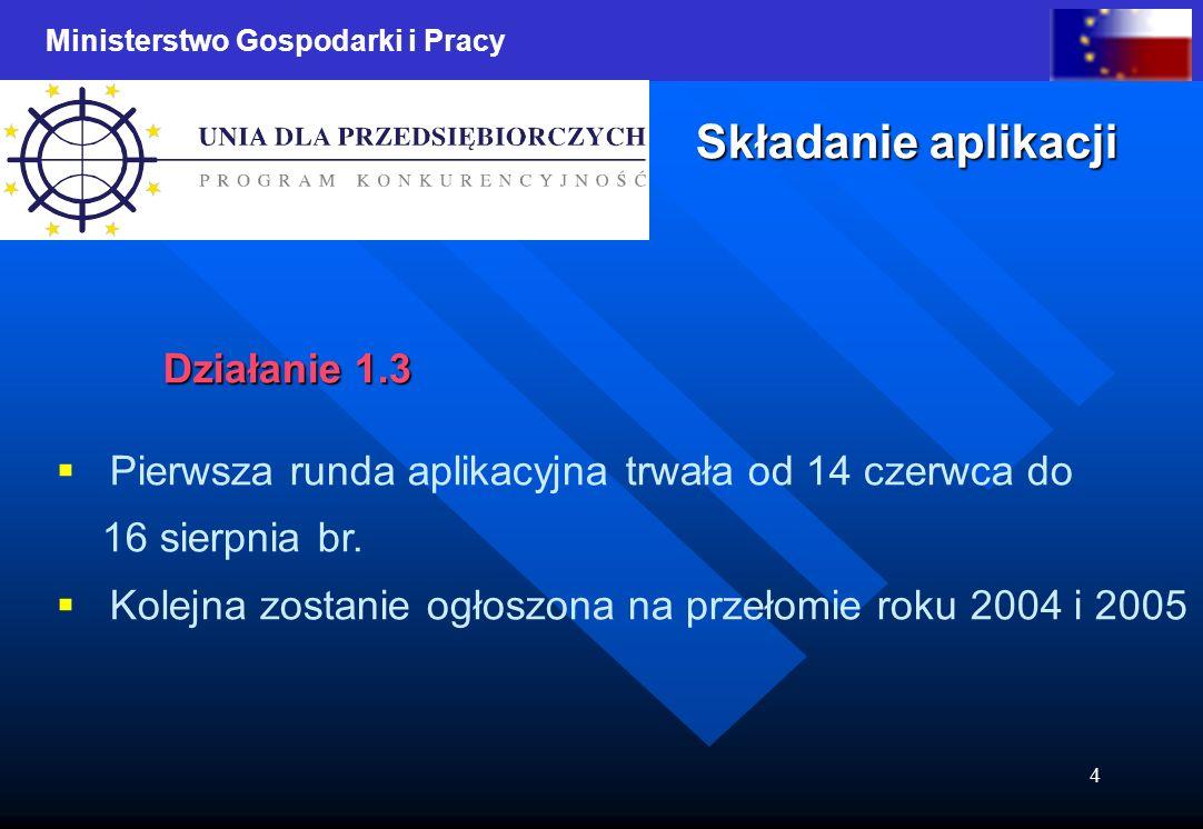 Ministerstwo Gospodarki i Pracy 4 Składanie aplikacji Działanie 1.3 Pierwsza runda aplikacyjna trwała od 14 czerwca do 16 sierpnia br. Kolejna zostani