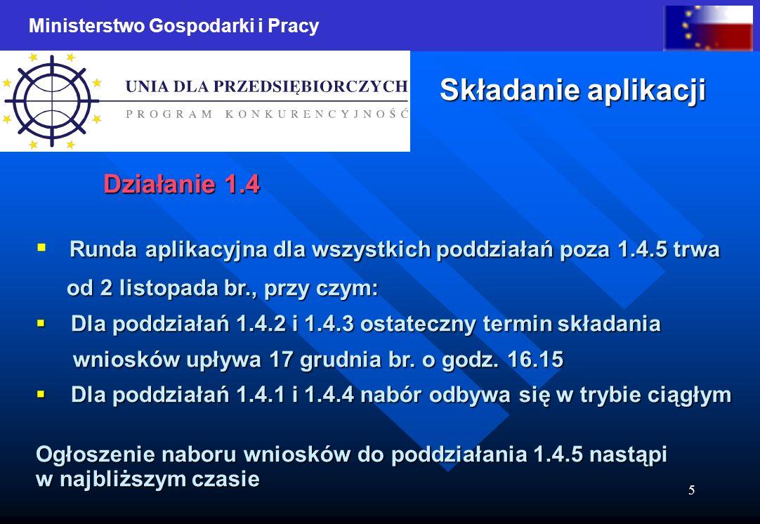 Ministerstwo Gospodarki i Pracy 5 Składanie aplikacji Działanie 1.4 Runda aplikacyjna dla wszystkich poddziałań poza 1.4.5 trwa od 2 listopada br., pr