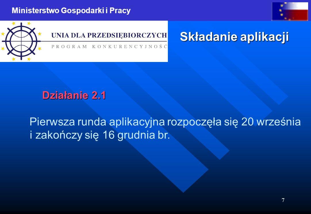 Ministerstwo Gospodarki i Pracy 7 Składanie aplikacji Działanie 2.1 Pierwsza runda aplikacyjna rozpoczęła się 20 września i zakończy się 16 grudnia br