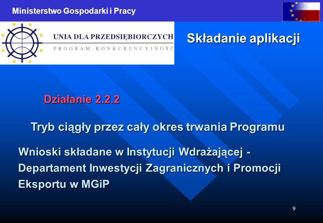 Ministerstwo Gospodarki i Pracy 9 Składanie aplikacji Działanie 2.2.2 Tryb ciągły przez cały okres trwania Programu Wnioski składane w Instytucji Wdrażającej - Wnioski składane w Instytucji Wdrażającej - Departament Inwestycji Zagranicznych i Promocji Departament Inwestycji Zagranicznych i Promocji Eksportu w MGiP Eksportu w MGiP