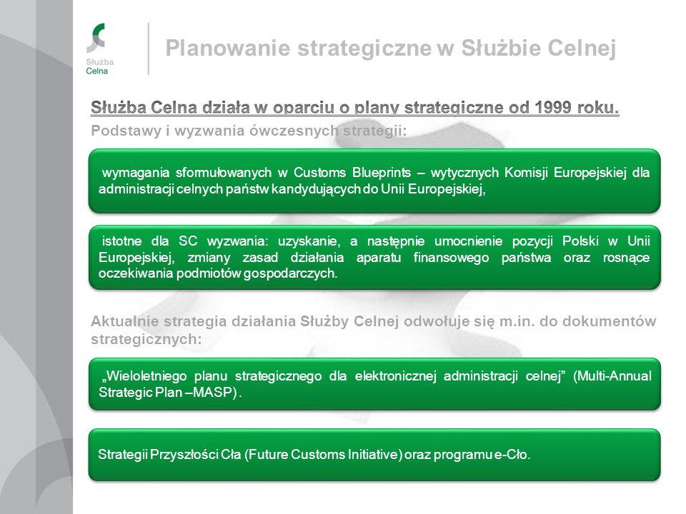 Planowanie strategiczne w Służbie Celnej istotne dla SC wyzwania: uzyskanie, a następnie umocnienie pozycji Polski w Unii Europejskiej, zmiany zasad d