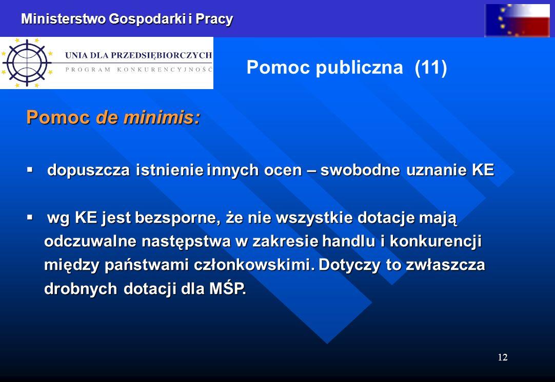 Ministerstwo Gospodarki i Pracy 12 Pomoc publiczna (11) Pomoc de minimis: dopuszcza istnienie innych ocen – swobodne uznanie KE dopuszcza istnienie in
