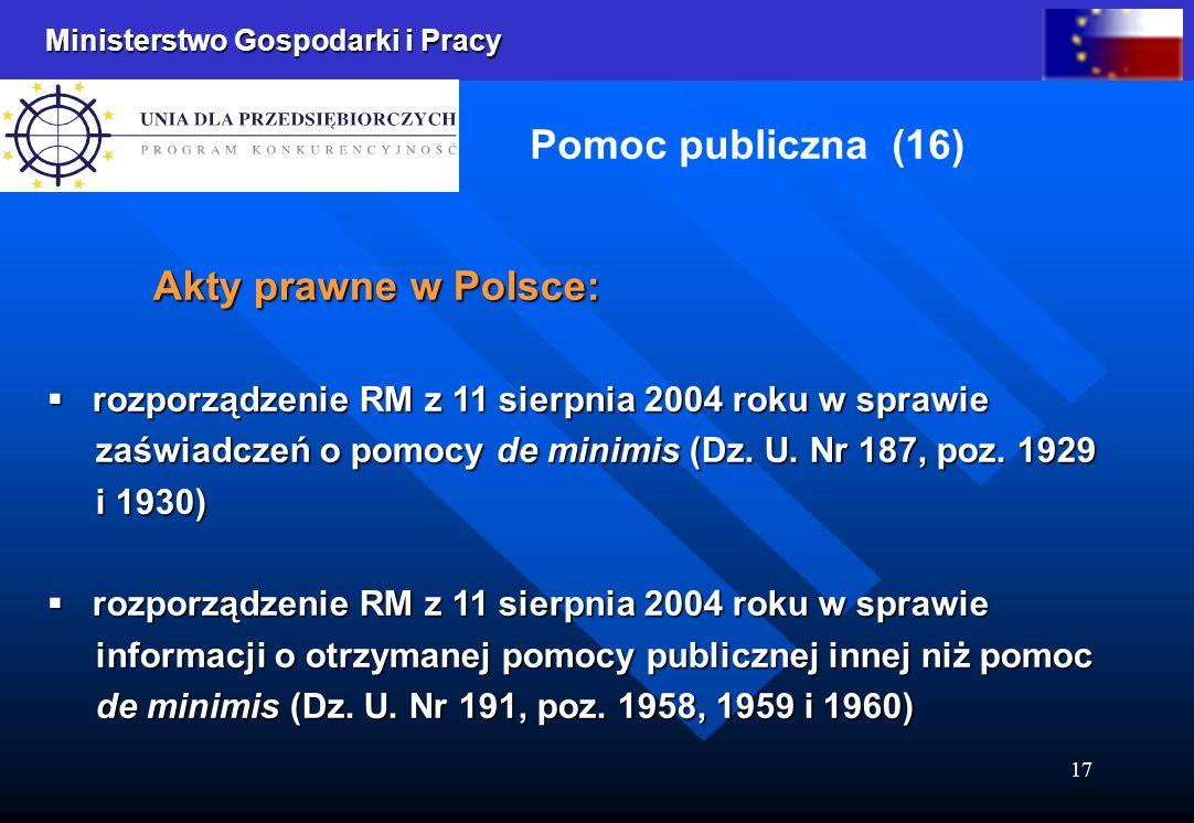 Ministerstwo Gospodarki i Pracy 17 Pomoc publiczna (16) Akty prawne w Polsce: rozporządzenie RM z 11 sierpnia 2004 roku w sprawie rozporządzenie RM z 11 sierpnia 2004 roku w sprawie zaświadczeń o pomocy de minimis (Dz.