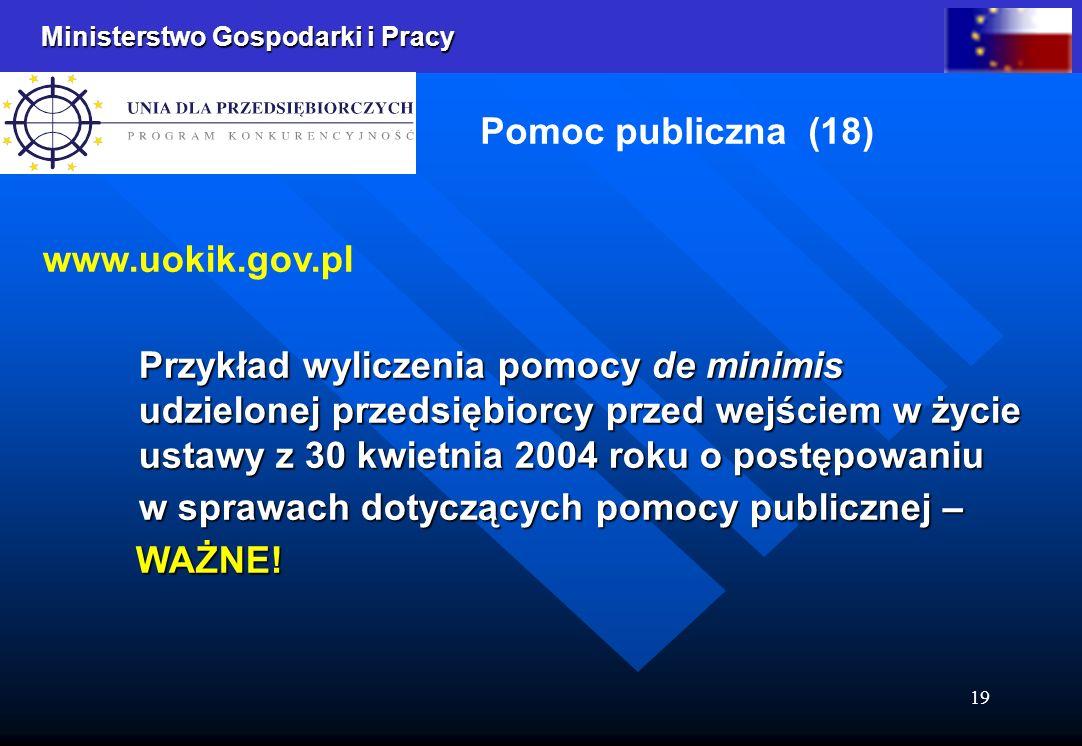 Ministerstwo Gospodarki i Pracy 19 Pomoc publiczna (18) www.uokik.gov.pl Przykład wyliczenia pomocy de minimis udzielonej przedsiębiorcy przed wejściem w życie ustawy z 30 kwietnia 2004 roku o postępowaniu w sprawach dotyczących pomocy publicznej – WAŻNE.
