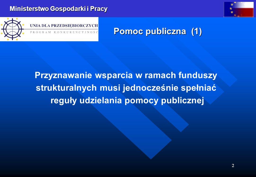 Ministerstwo Gospodarki i Pracy 2 Przyznawanie wsparcia w ramach funduszy strukturalnych musi jednocześnie spełniać reguły udzielania pomocy publicznej Pomoc publiczna (1)