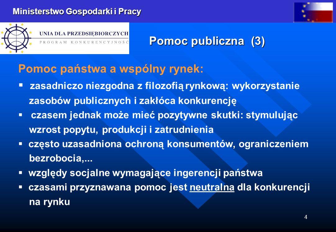 Ministerstwo Gospodarki i Pracy 4 Pomoc publiczna (3) Pomoc państwa a wspólny rynek: zasadniczo niezgodna z filozofią rynkową: wykorzystanie zasobów p