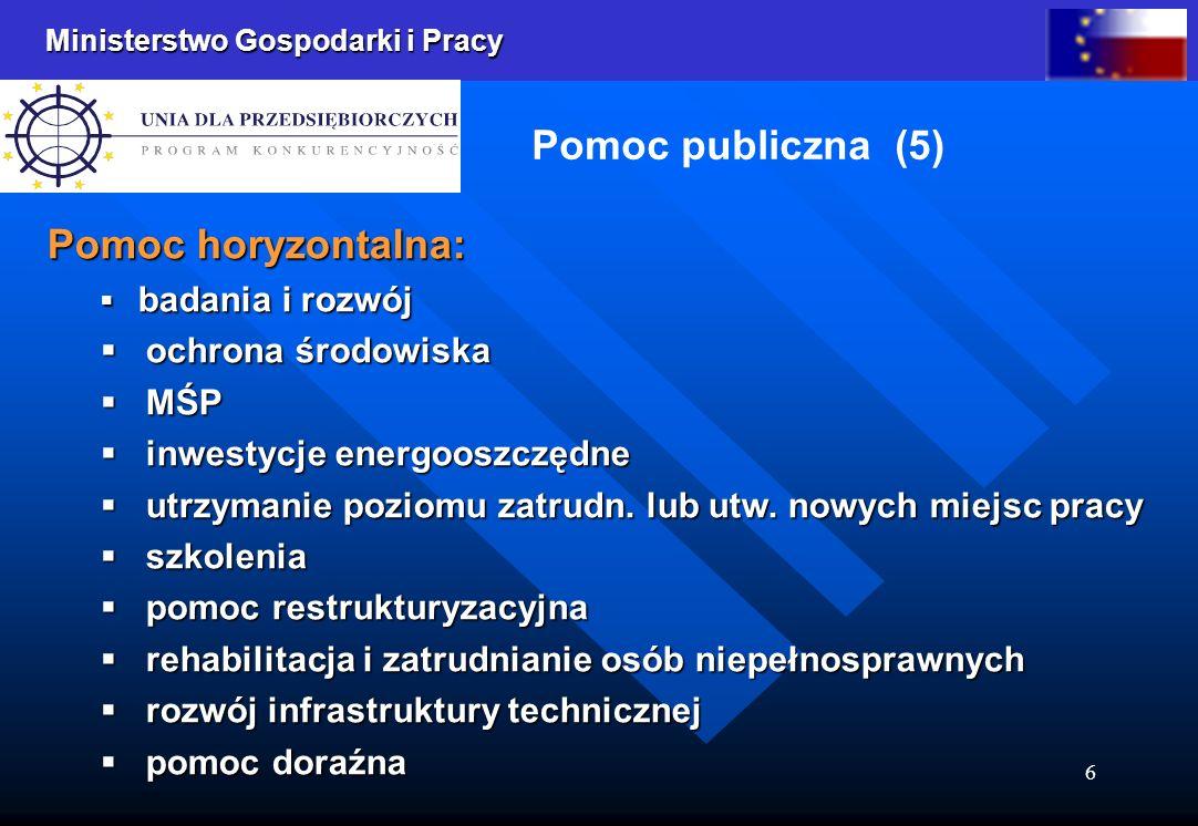 Ministerstwo Gospodarki i Pracy 6 Pomoc publiczna (5) Pomoc horyzontalna: badania i rozwój badania i rozwój ochrona środowiska ochrona środowiska MŚP
