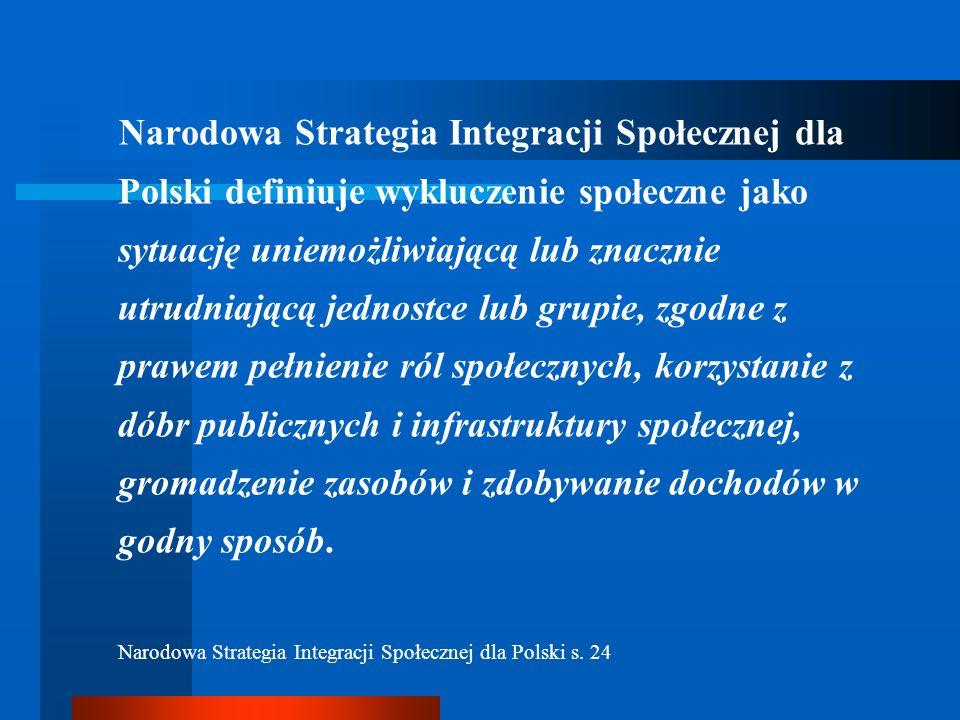 Narodowa Strategia Integracji Społecznej dla Polski definiuje wykluczenie społeczne jako sytuację uniemożliwiającą lub znacznie utrudniającą jednostce