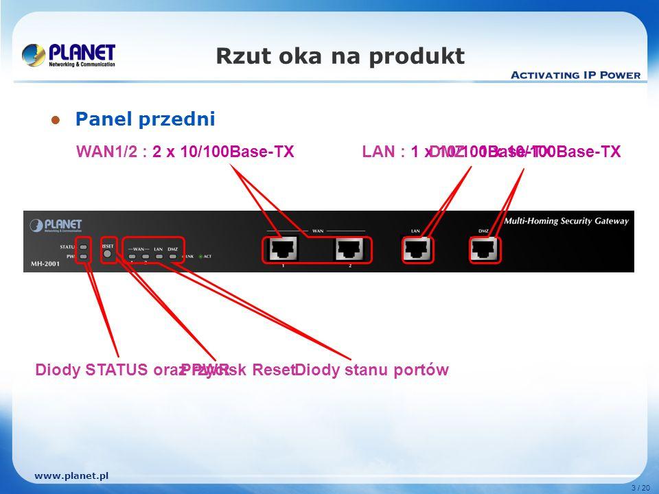 www.planet.pl 3 / 20 Rzut oka na produkt Panel przedni WAN1/2 : 2 x 10/100Base-TXLAN : 1 x 10/100Base-TXDMZ : 1 x 10/100Base-TX Diody STATUS oraz PWRDiody stanu portówPrzycisk Reset