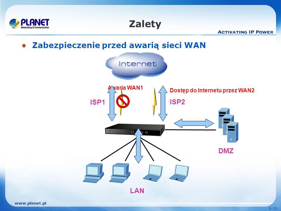 www.planet.pl 5 / 20 Zalety Zabezpieczenie przed awarią sieci WAN ISP1 ISP2 LAN DMZ Awaria WAN1 Dostęp do Internetu przez WAN2