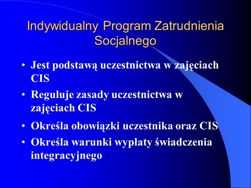 Indywidualny Program Zatrudnienia Socjalnego Jest podstawą uczestnictwa w zajęciach CIS Reguluje zasady uczestnictwa w zajęciach CIS Określa obowiązki uczestnika oraz CIS Określa warunki wypłaty świadczenia integracyjnego