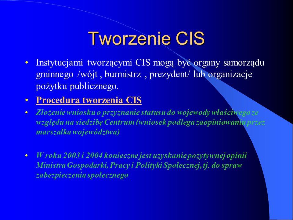 Tworzenie CIS Instytucjami tworzącymi CIS mogą być organy samorządu gminnego /wójt, burmistrz, prezydent/ lub organizacje pożytku publicznego.