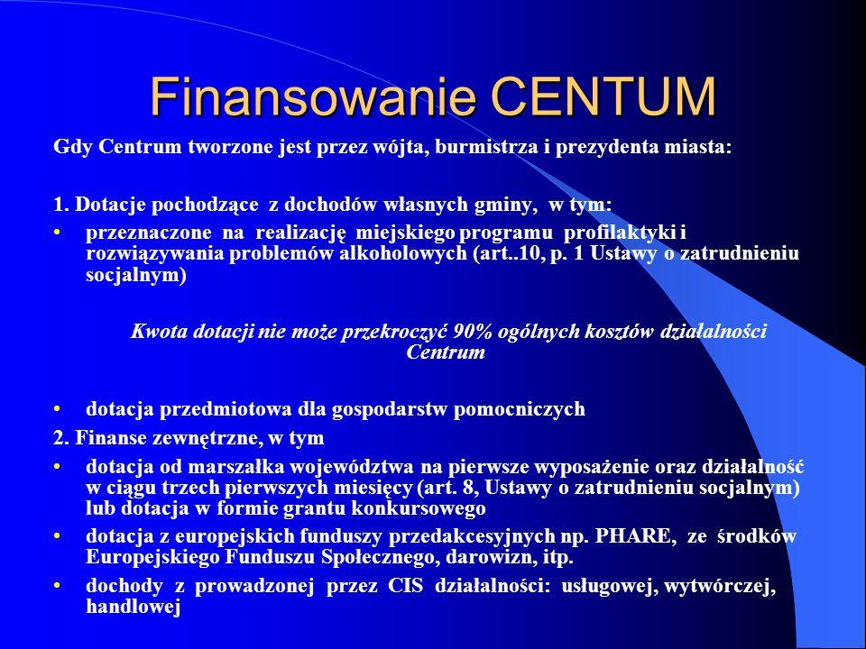 Finansowanie CENTUM Gdy Centrum tworzone jest przez wójta, burmistrza i prezydenta miasta: 1.