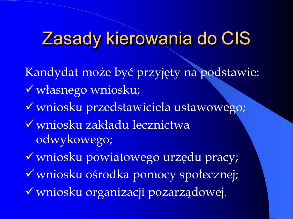 Zasady kierowania do CIS Kandydat może być przyjęty na podstawie: własnego wniosku; wniosku przedstawiciela ustawowego; wniosku zakładu lecznictwa odwykowego; wniosku powiatowego urzędu pracy; wniosku ośrodka pomocy społecznej; wniosku organizacji pozarządowej.