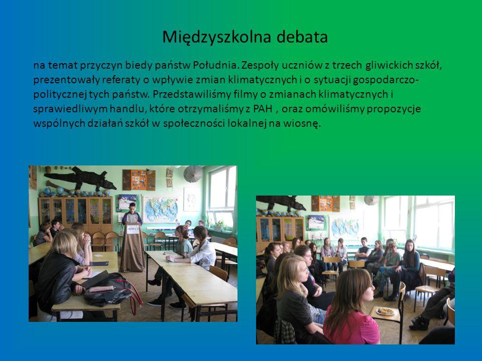 Międzyszkolna debata na temat przyczyn biedy państw Południa. Zespoły uczniów z trzech gliwickich szkół, prezentowały referaty o wpływie zmian klimaty