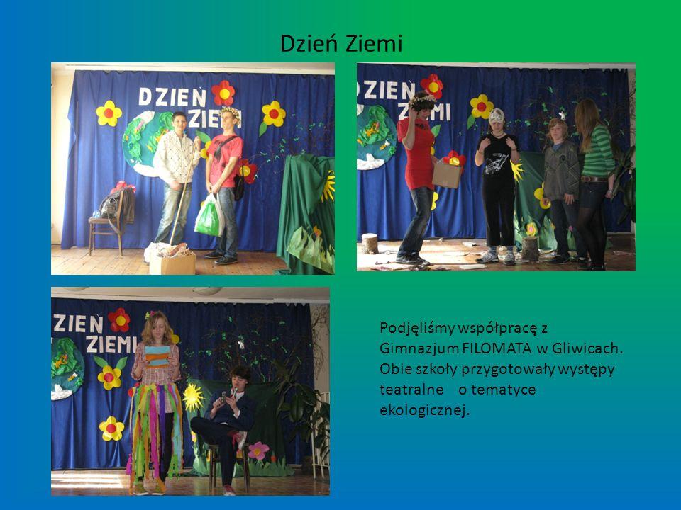Dzień Ziemi Podjęliśmy współpracę z Gimnazjum FILOMATA w Gliwicach. Obie szkoły przygotowały występy teatralne o tematyce ekologicznej.