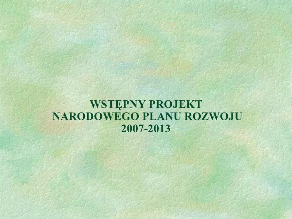 WSTĘPNY PROJEKT NARODOWEGO PLANU ROZWOJU 2007-2013