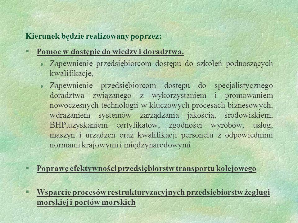 Kierunek będzie realizowany poprzez: §Pomoc w dostępie do wiedzy i doradztwa. l Zapewnienie przedsiębiorcom dostępu do szkoleń podnoszących kwalifikac