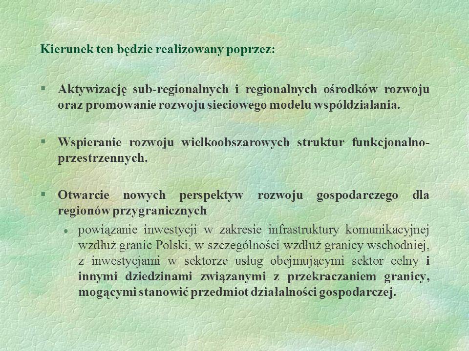 Kierunek ten będzie realizowany poprzez: §Aktywizację sub-regionalnych i regionalnych ośrodków rozwoju oraz promowanie rozwoju sieciowego modelu współ