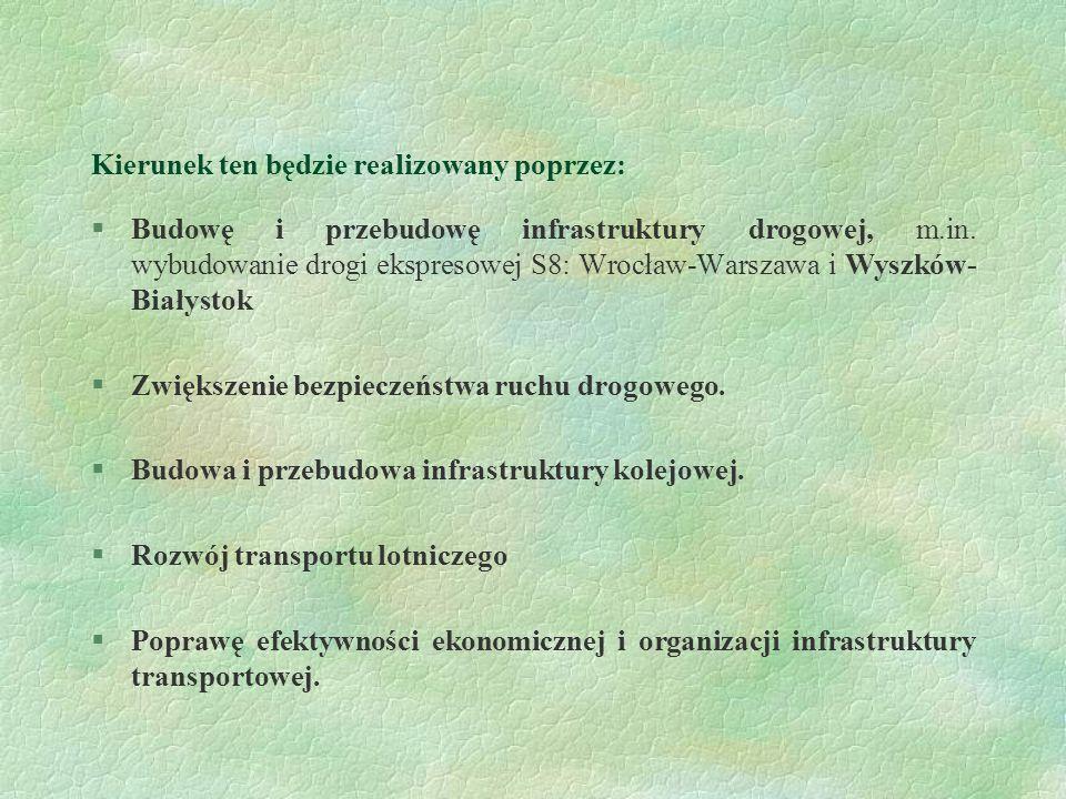 Kierunek ten będzie realizowany poprzez: §Budowę i przebudowę infrastruktury drogowej, m.in. wybudowanie drogi ekspresowej S8: Wrocław-Warszawa i Wysz