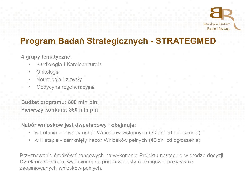 Program Badań Strategicznych - STRATEGMED 4 grupy tematyczne: Kardiologia i Kardiochirurgia Onkologia Neurologia i zmysły Medycyna regeneracyjna Budże