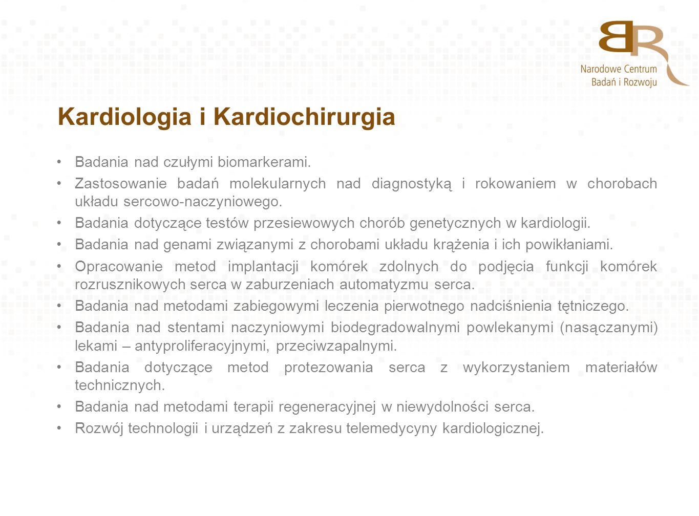 Kardiologia i Kardiochirurgia Badania nad czułymi biomarkerami. Zastosowanie badań molekularnych nad diagnostyką i rokowaniem w chorobach układu serco