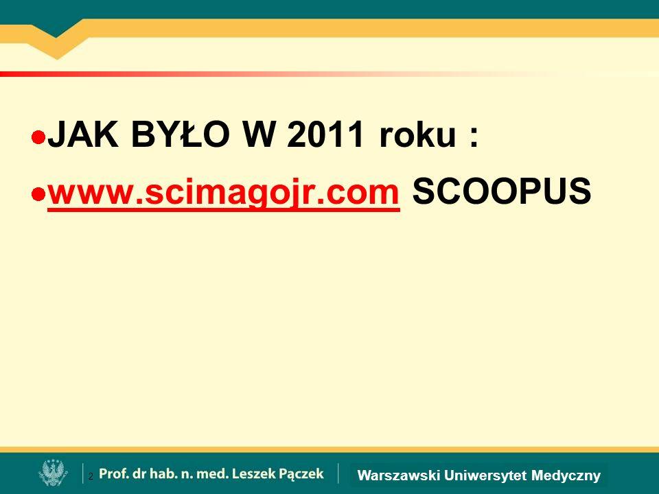 Warszawski Uniwersytet Medyczny JAK BYŁO W 2011 roku : www.scimagojr.com SCOOPUS www.scimagojr.com 2