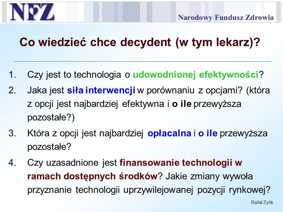 Rafał Zyśk Co wiedzieć chce decydent (w tym lekarz)? 1.Czy jest to technologia o udowodnionej efektywności? 2.Jaka jest siła interwencji w porównaniu