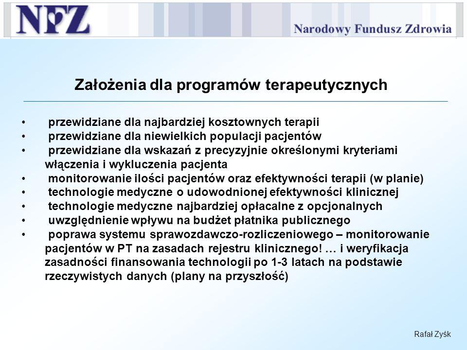 Rafał Zyśk Założenia dla programów terapeutycznych przewidziane dla najbardziej kosztownych terapii przewidziane dla niewielkich populacji pacjentów p