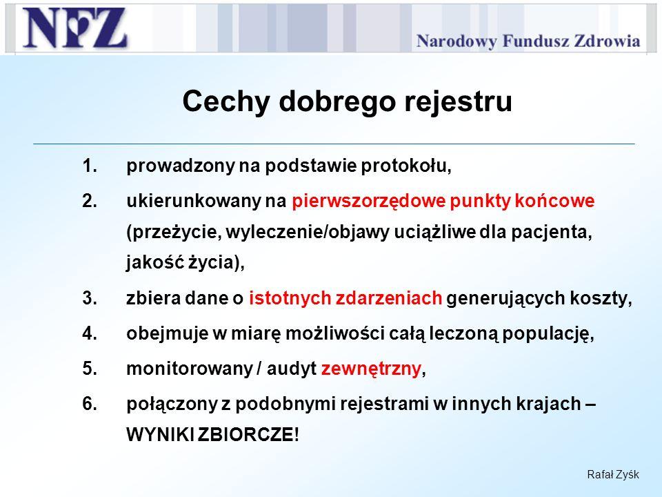Rafał Zyśk Cechy dobrego rejestru 1.prowadzony na podstawie protokołu, 2.ukierunkowany na pierwszorzędowe punkty końcowe (przeżycie, wyleczenie/objawy