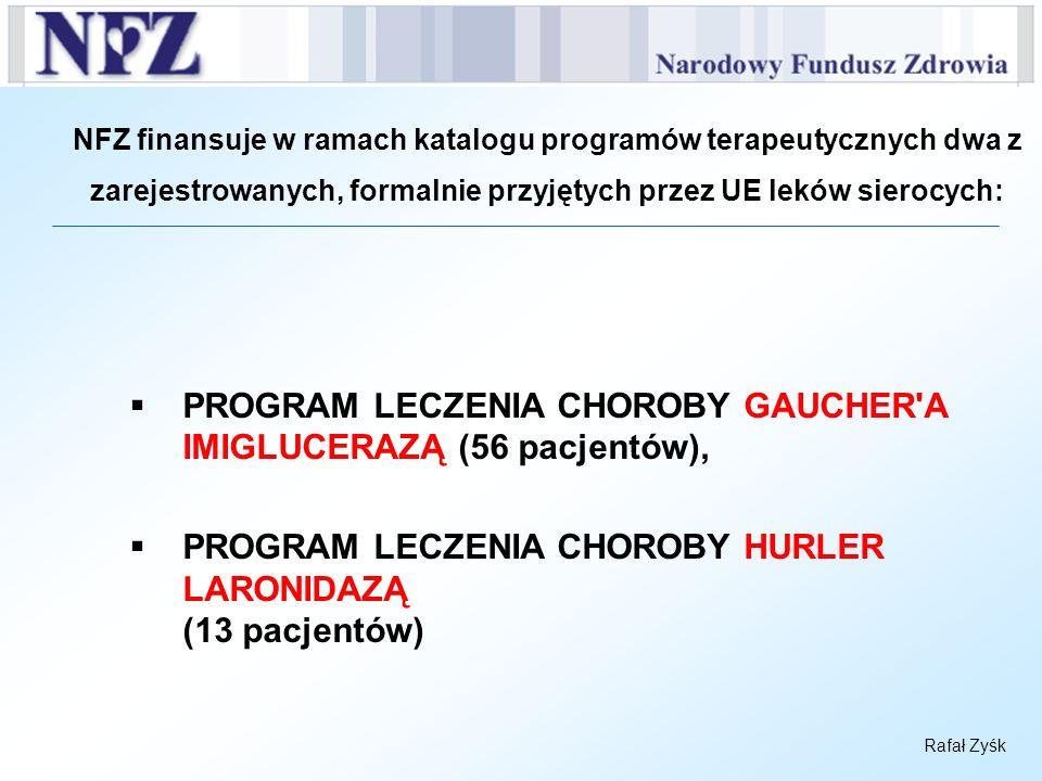 Rafał Zyśk NFZ finansuje w ramach katalogu programów terapeutycznych dwa z zarejestrowanych, formalnie przyjętych przez UE leków sierocych: PROGRAM LE