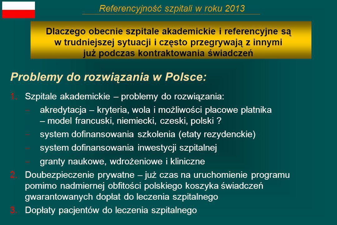 Problemy do rozwiązania w Polsce: Referencyjność szpitali w roku 2013 Dlaczego obecnie szpitale akademickie i referencyjne są w trudniejszej sytuacji
