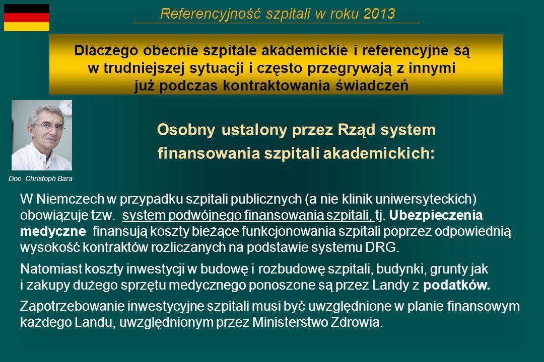 Osobny ustalony przez Rząd system finansowania szpitali akademickich: Referencyjność szpitali w roku 2013 Doc. Christoph Bara Dlaczego obecnie szpital