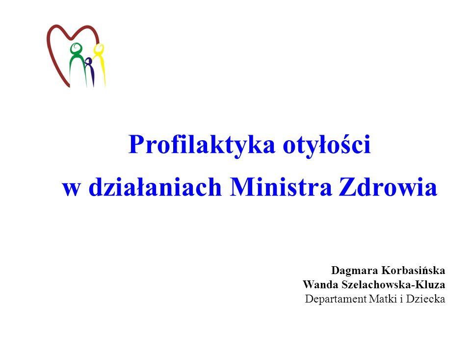 Profilaktyka otyłości w działaniach Ministra Zdrowia Dagmara Korbasińska Wanda Szelachowska-Kluza Departament Matki i Dziecka