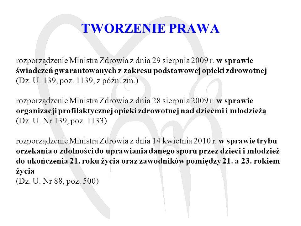 TWORZENIE PRAWA rozporządzenie Ministra Zdrowia z dnia 29 sierpnia 2009 r. w sprawie świadczeń gwarantowanych z zakresu podstawowej opieki zdrowotnej