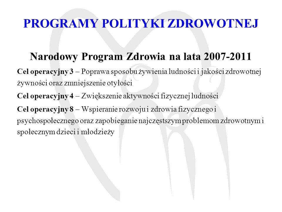 PROGRAMY POLITYKI ZDROWOTNEJ Narodowy Program Przeciwdziałania Chorobom Cywilizacyjnym Moduł I Program zapobiegania nadwadze i otyłości oraz przewlekłym chorobom niezakaźnym poprzez poprawę żywienia i aktywność fizyczną POL-HEALTH na lata 2007-2011 Moduł II Program Prewencji i Leczenia Cukrzycy w Polsce na lata 2010-2011 Moduł III Program Eliminacji Niedoboru Jodu w Polsce na lata 2009-2011