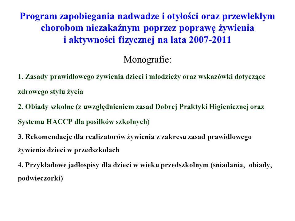 Program zapobiegania nadwadze i otyłości oraz przewlekłym chorobom niezakaźnym poprzez poprawę żywienia i aktywności fizycznej na lata 2007-2011 Monog