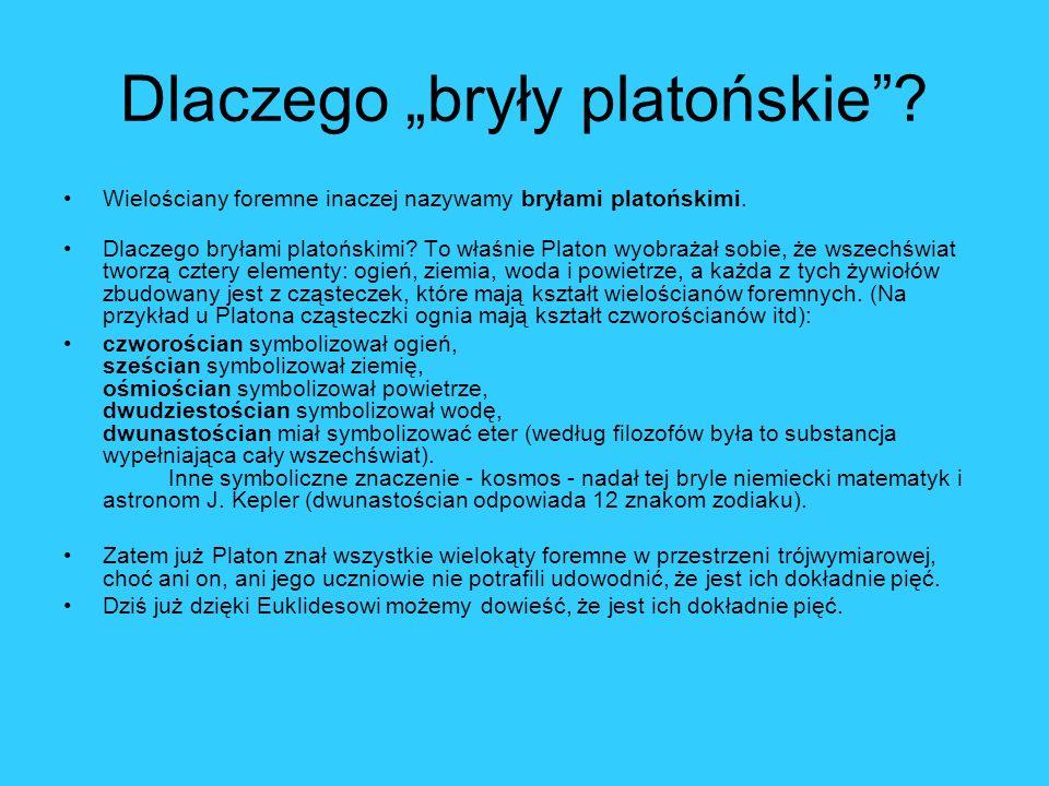 Dlaczego bryły platońskie? Wielościany foremne inaczej nazywamy bryłami platońskimi. Dlaczego bryłami platońskimi? To właśnie Platon wyobrażał sobie,