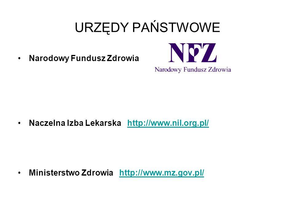 URZĘDY PAŃSTWOWE Narodowy Fundusz Zdrowia Naczelna Izba Lekarska http://www.nil.org.pl/http://www.nil.org.pl/ Ministerstwo Zdrowia http://www.mz.gov.p